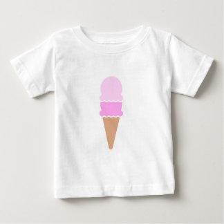 Camiseta Para Bebê Cone dobro do sorvete da colher - rosa