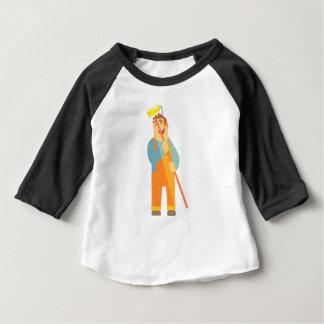 Camiseta Para Bebê Construtor com rolo da pintura no canteiro de