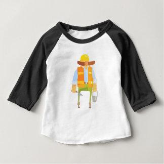 Camiseta Para Bebê Construtor com Trowel e balde na construção