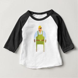 Camiseta Para Bebê Construtor no capacete de segurança no canteiro de