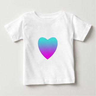 Camiseta Para Bebê Coração cor-de-rosa/azul