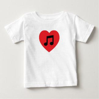 Camiseta Para Bebê Coração da nota da música