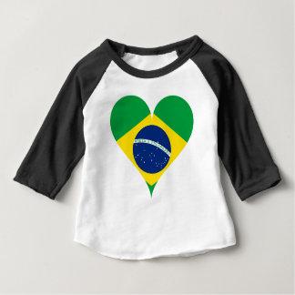 Camiseta Para Bebê Coração de Brasil da bandeira do amor do coração