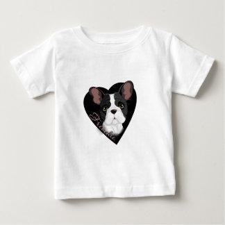 Camiseta Para Bebê Coração de Frenchie