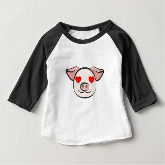 Camiseta Para Bebê Coração de porco Emoji