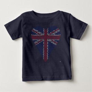 Camiseta Para Bebê Coração de Union Jack
