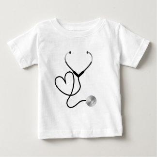 Camiseta Para Bebê Coração do estetoscópio
