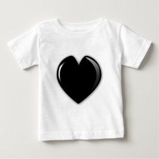 Camiseta Para Bebê Coração do preto escuro