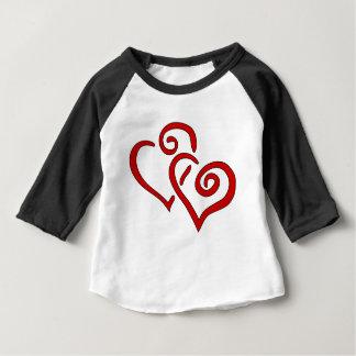 Camiseta Para Bebê Coração dobro vermelho