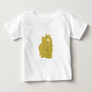 Camiseta Para Bebê Coração dourado