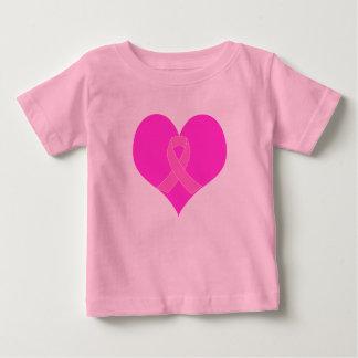 Camiseta Para Bebê Coração e design da caridade do cancro da mama da