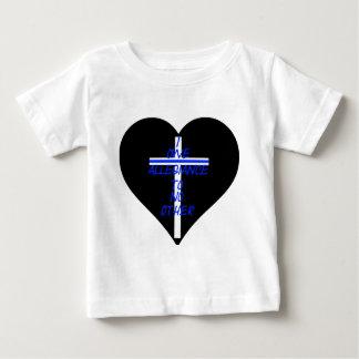 Camiseta Para Bebê Coração preto de IOATNO com Blue Line transversal