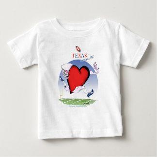 Camiseta Para Bebê coração principal de texas, fernandes tony