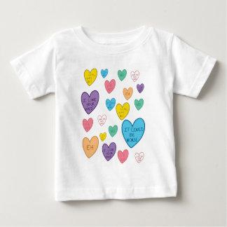 Camiseta Para Bebê Corações dos doces