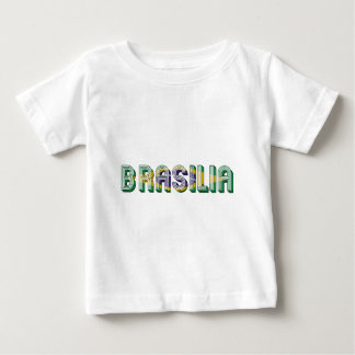 Camiseta Para Bebê Cores da bandeira da tipografia de Brasília Brasil