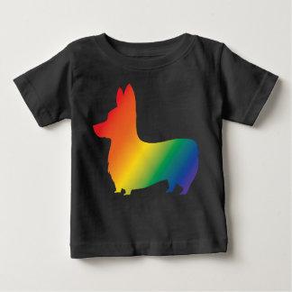 Camiseta Para Bebê Corgi do arco-íris