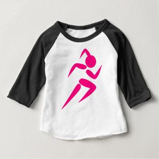 Camiseta Para Bebê Corredor cor-de-rosa da menina