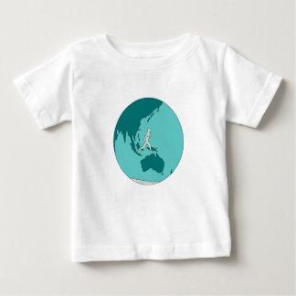 Camiseta Para Bebê Corredor de maratona em torno do desenho do mundo