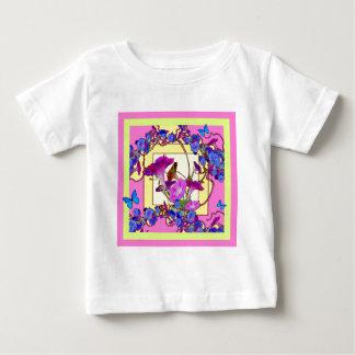 Camiseta Para Bebê Corriolas cor-de-rosa do azul da arte