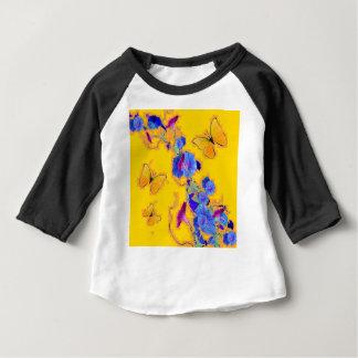 Camiseta Para Bebê corriolas do azul das borboletas do ouro