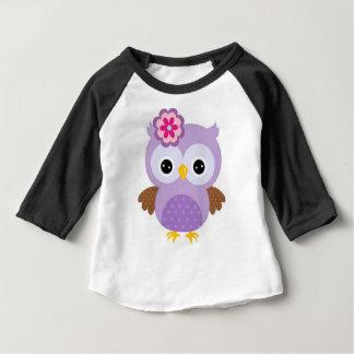 Camiseta Para Bebê Coruja roxa bonito