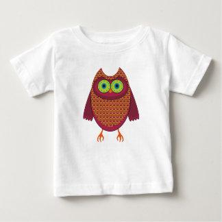 Camiseta Para Bebê Coruja vermelho marrom