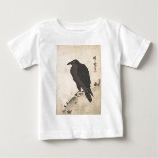 Camiseta Para Bebê Corvo de Kawanabe Kyosai que descansa na arte de