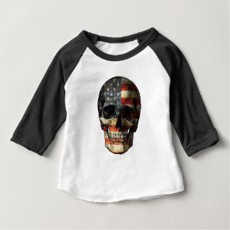 Camiseta Para Bebê Crânio da bandeira americana