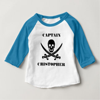 Camiseta Para Bebê Crânio da bandeira de pirata