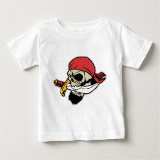 Camiseta Para Bebê Crânio do pirata com faca