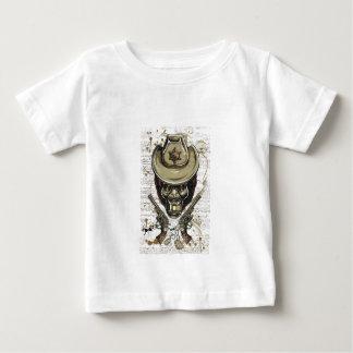 Camiseta Para Bebê crânio do vaqueiro do macaco com armas gêmeas