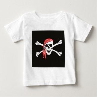Camiseta Para Bebê Crânio e bandeira de pirata cruzada dos ossos