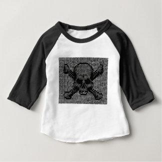 Camiseta Para Bebê Crânio e Crossbones de código binário