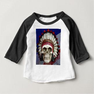 Camiseta Para Bebê Crânio indiano americano com penas
