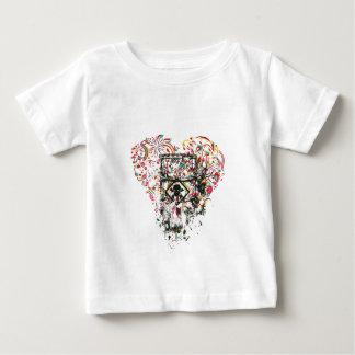 Camiseta Para Bebê crânio no vidro, coração do vintage