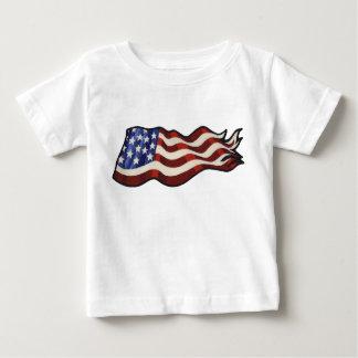 Camiseta Para Bebê Criança de ondulação da bandeira americana