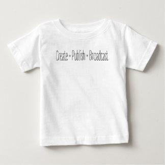 """Camiseta Para Bebê """"CRIAR  •  PUBLIQUE  •  A TRANSMISSÃO"""", texto,"""