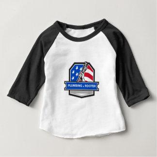 Camiseta Para Bebê Crista da bandeira dos EUA da chave de tubulação