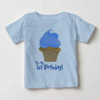 Camiseta Para Bebê CupcakeBlue, é meu, primeiro aniversario!