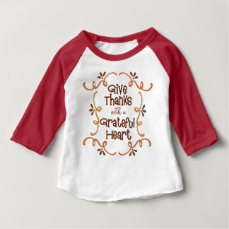 Camiseta Para Bebê Dê obrigados com um coração grato