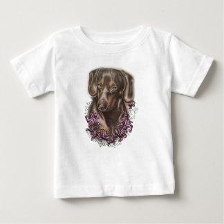 Camiseta Para Bebê Desenho da arte do cão e dos lírios do Dachshund