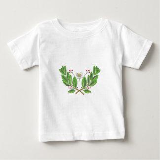 Camiseta Para Bebê Desenho da folha e da fruta da flor do companheiro