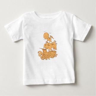 Camiseta Para Bebê Desenho da lua do navio de navigação de Caravel