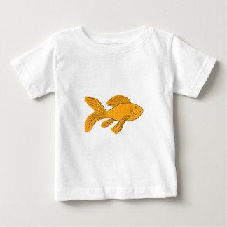 Camiseta Para Bebê Desenho da natação de Koi da borboleta do ouro