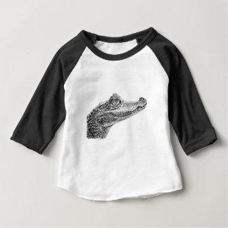 Camiseta Para Bebê Desenho da tinta do crocodilo do bebê