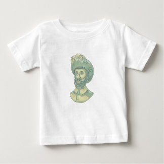 Camiseta Para Bebê Desenho do busto de Juan Sebastian Elcano