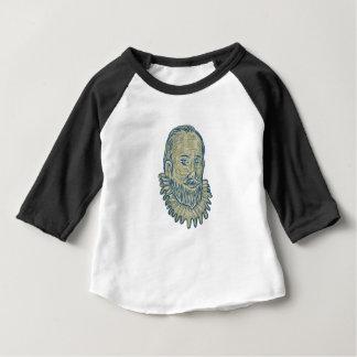 Camiseta Para Bebê Desenho do busto do senhor Walter Raleigh