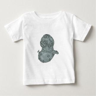 Camiseta Para Bebê Desenho do capacete do mergulho da velha escola