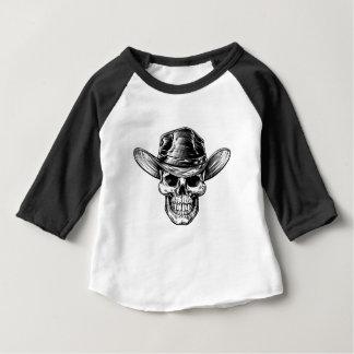 Camiseta Para Bebê Desenho do chapéu de vaqueiro do crânio