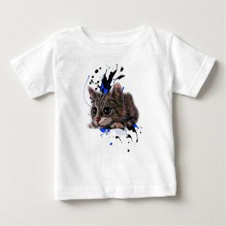 Camiseta Para Bebê Desenho do gatinho como o gato com arte da pintura
